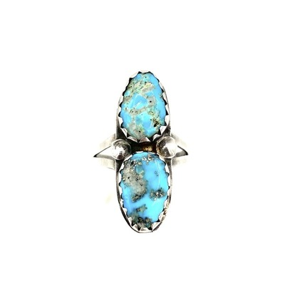 Title: Ring: Two Stone Navajo Turquoise , Size: 7 , Medium: Sterling Silver