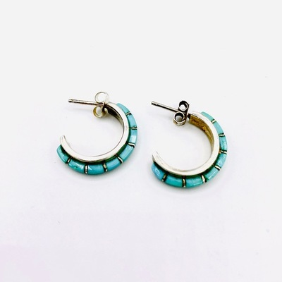 Title: Earrings: Inlay Turquoise Hoops , Medium: Sterling Silver