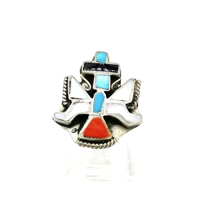 Title: Ring: Zuni Inlay , Size: 4 3/4 , Medium: Sterling Silver