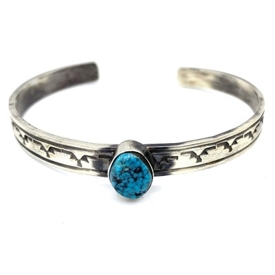 Title: Bracelet: Navajo Sterling with Kingman Turquoise , Medium: Sterling Silver