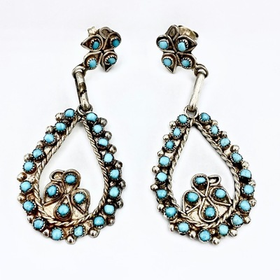 Title: Earrings: Turquoise Petite Point Turquoise , Medium: Sterling Silver