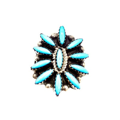 Title: Ring: Navajo Sunburst Turquoise , Size: 8 1/2 , Medium: Sterling Silver