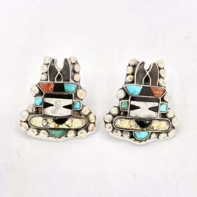 Title: Earrings: Zuni Inlay , Medium: Sterling Silver