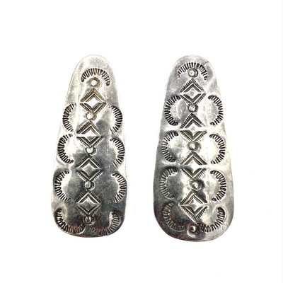 Title: Earrings: Oblong Sterling w/ Stamping , Medium: Sterling Silver