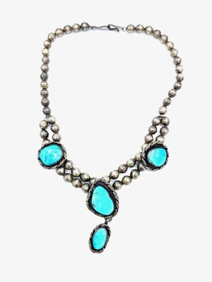 Title: Necklace: Silver Beads w/ Turquoise , Medium: Sterling Silver