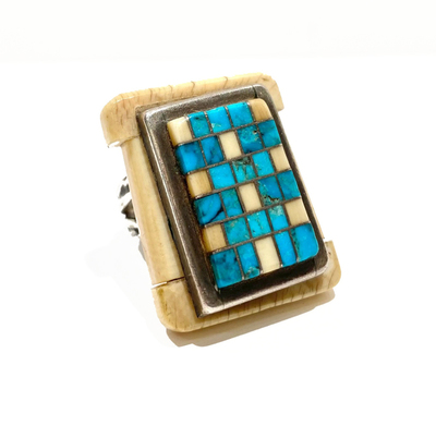 Title: Ring: Turquoise Checkered Rectangle , Size: 5