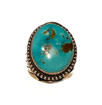 Title: Ring: Large Kingman Turquoise w/ Fan on Sides , Size: 10 - 1 1/2 L x 1 1/4 W inches , Medium: Sterling Silver , Signed: Signed