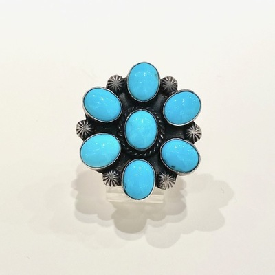 Title: Ring: Turquoise Cluster , Size: 5 3/4 - , Medium: Sterling Silver