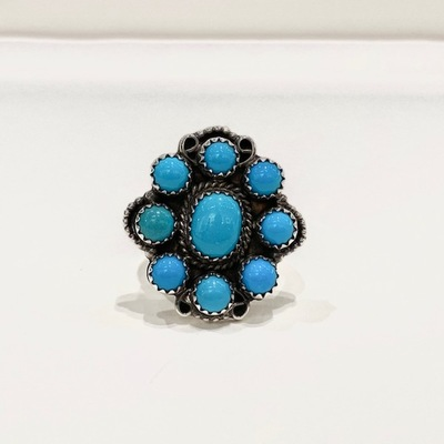 Title: Ring: Nine Stone Turquoise Cluster , Size: 7 - 1 x 1 inches , Medium: Sterling Silver