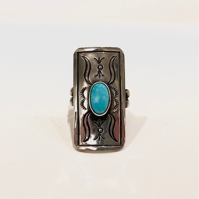 Title: Ring: Navajo Sterling Rectangle w/ Turquoise , Size: 6 1/2 - 1 1/2 x 3/4 inches , Medium: Sterling Silver