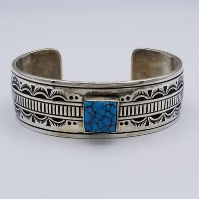 Title: Bracelet by Navajo Charlie John - Heavy Gage Silver , Size: Width 3/4 inch , Medium: Sterlin Silver with turquoise , Signed: Signed