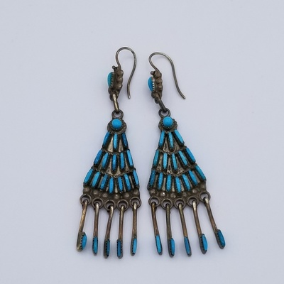 Title: Earrings: Rare Zuni Needlepoint Chandelier , Date: c. 1920 , Size: 3