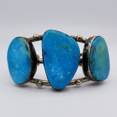 Title: Bracelet: Museum Large Easter Blue Turquoise , Size: 1 1/2 inch wide , Medium: Sterling Silver , Edition: Vintage