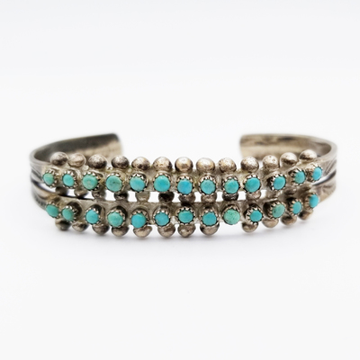Title: Bracelet: Zuni Green Snake Eyes Turquoise , Size: 1/2 inch wide , Medium: Sterling Silver , Edition: Vintage
