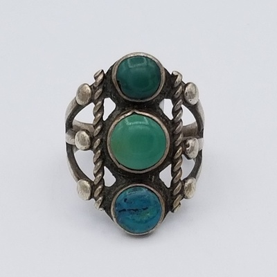 Title: Ring: Vintage Navajo Turquoise, Old , Size: 6 , Medium: Sterling Silver , Edition: Vintage