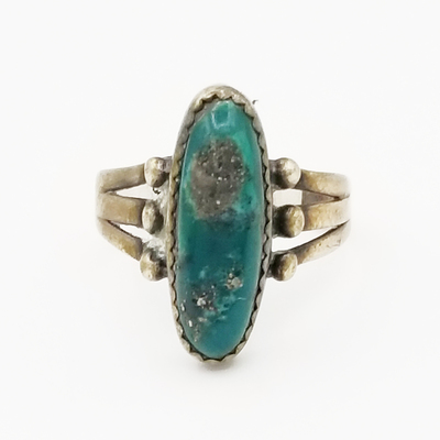 Title: Ring: Lovely Split Shank with Turquoise , Size: 7 1/2 , Medium: Sterling Silver , Edition: Vintage