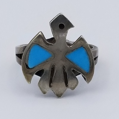 Title: Ring: Native American Turquoise Thunderbird , Size: 3 1/2 , Medium: Sterling Silver , Edition: Vintage