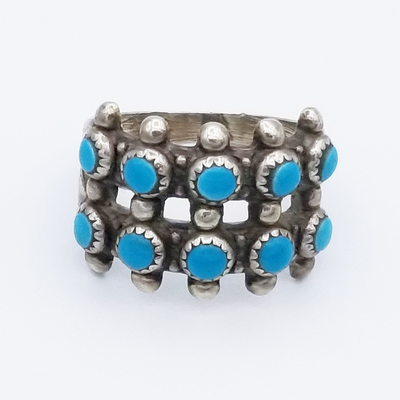 Title: Ring: Multi Row Turqoise Navajo , Size: 5 , Medium: Sterling Silver , Edition: Vintage