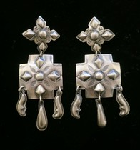 Title: Earrings: Vintage Navajo Sterling Concho Dangles , Size: 3 inches long , Medium: Sterling Silver , Edition: Vintage