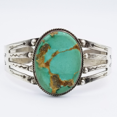 Title: Bracelet: Vintage Turquoise Large Oval Stone , Date: c. 1950's , Size: Size 7, 35 Grams , Medium: Sterling Silver , Edition: Vintage