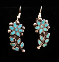Title: Earrings: Beautiful Turquoise Flowers , Size: 1 inch , Medium: Sterling Silver , Edition: Vintage