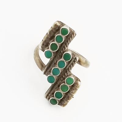 Title: Ring: Navajo Snake Eye 3 Rows , Size: 6 , Medium: Sterling Silver , Edition: Vintage