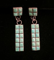 Title: Earrings: Navajo Inlay Dangles , Medium: Sterling Silver , Edition: Vintage