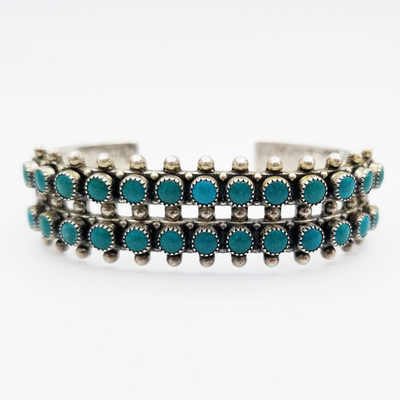 Title: Bracelet: Double Row Vintage Zuni , Medium: Sterling Silver , Edition: Vintage