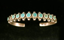 Title: Bracelet: Zuni One Row Turquoise , Medium: Sterling Silver , Edition: Vintage