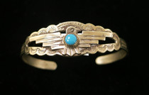 Title: Bracelet: Childs Sterling Thunderbird and Turquoise , Medium: Sterling Silver