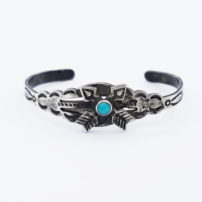 Title: Bracelet: Child's Navajo Bracelet with Crossed Arrows , Medium: Sterling Silver , Edition: Vintage