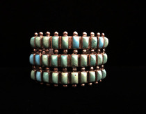 Title: Bracelet: Rare Large 3 Row Zuni Cuff , Size: 1 1/2 inches wide , Medium: Sterling Silver , Edition: Vintage