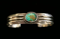 Title: Bracelet: Navajo Cuff with Beautiful Turquoise Stone , Size: 1/2 inch wide , Medium: Sterling Silver , Edition: Vintage