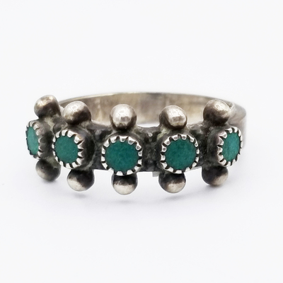 Title: Ring: Zuni Turquoise Row , Size: 6 , Medium: Sterling Silver , Edition: Vintage