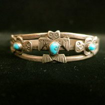 Title: Bracelet: Fred Harvey Owl Cuff with Turquoise , Medium: Sterling Silver , Edition: Vintage