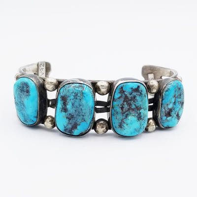 Title: Bracelet: Beautiful Navajo Example with Kingman Turquoise , Medium: Sterling Silver , Edition: Vintage