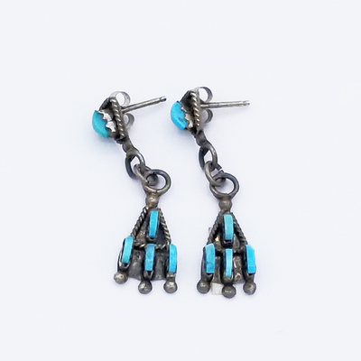 Title: Earrings: Zuni Needlepoint Dangle , Size: 2 inches , Medium: Sterling Silver , Edition: Vintage