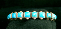 Title: Bracelet: By Navajo Herman Smith 10 Turquoise Stones , Medium: Sterling Silver , Edition: Vintage