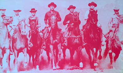Title: Magnificent Seven (Pink and Blue , Size: 24 x 24 inches , Medium: Screenprint on linen , Signed: Signed