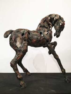 Title: Chispa , Size: 65 x 55 x 24 inches , Medium: Bronze