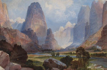 Title: Valley of the Babbling Waters, UT , Date: 1876 , Size: 8 x 12 inches , Medium: Chromolithograph , Signed: NS , Edition: Louis Prang