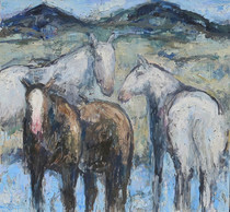 Title:      Ennis Horses #3 , Size: 60 x 64 inches , Medium: Oil, encaustic on Canvas , Edition: Original