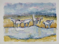 Title: Ennis Horses I , Size: 34 x 45 inches , Medium: Hand Colored Lithograpsh , Signed: Signed , Edition: 8/45