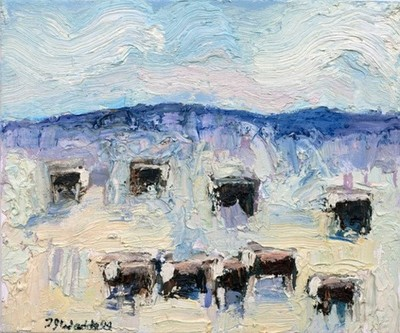 Title:      Deer Creek Herefords , Size: 20 x 24 inches , Medium: Oil, Encaustic on Canvas , Signed: L/L