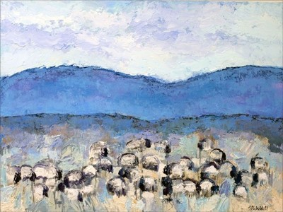 Title:      Sun Valley Sheep #4 , Size: 36 x 48 inches , Medium: Oil, Encaustic on Canvas , Signed: L/R