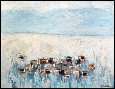 Title:      Toluca Herefords #2 , Size: 41 x 53 inches , Medium: Oil, Encaustic on Canvas , Signed: L/R , Edition: Original