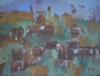 Title:   Stillwater Herefords #2 , Size: 30 x 40 inches , Medium: Oil, Encaustic, Graphite on Paper , Signed: Signed , Edition: Original