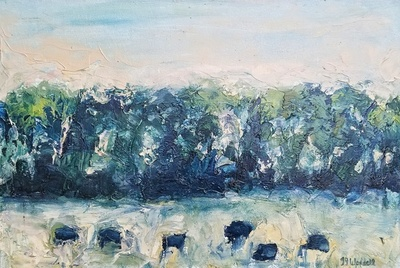 Title:      Cottonwood Creek Angus #4 , Size: 24 x 36 inches , Medium: Encaustic, Oil on Canvas , Signed: L/R , Edition: Original