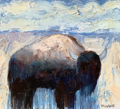 Title:      Red Rock Buffalo #10 , Size: 36 x 40 inches , Medium: Oil, Encaustic on Canvas , Signed: L/R , Edition: Original