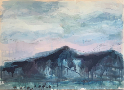 Title:   Ross Peak Angus Dr. #6 , Size: 30 x 40 inches , Medium: Oil, Encaustic, Graphite on Paper , Signed: Signed , Edition: Original